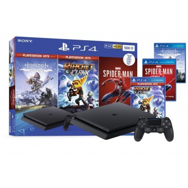 PS4 Sony Console 500GB + Spider-Man + Horizon Zero Dawn Complete Edition + Rachet and Clank