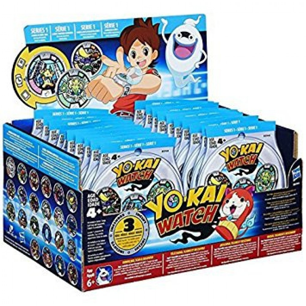 YO-KAI WATCH MEDALS (Series 1 or Series 2)--PACK OF 3 MEDALS